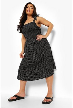 Black Plus Polka Dot Shirred Strappy Midi Sundress