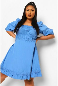 Light blue blue Plus Cotton Ruffle Pretty Skater Dress