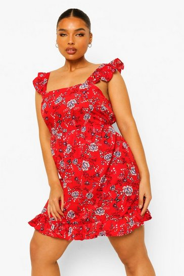 Red Plus Floral Ruffle Sundress