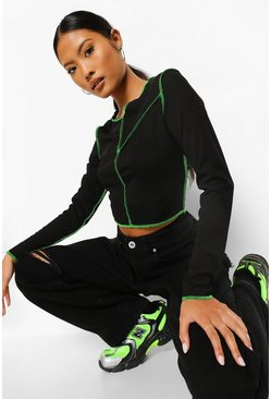 Black Petite Neon Contrast Stitch Long Sleeve Crop