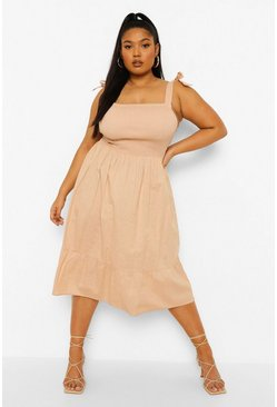 Stone beige Plus Shirred Strappy Woven Midi Sundress