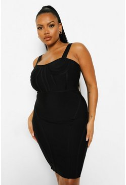 Black Plus Bandage Sculpt Corset Bodycon Dress