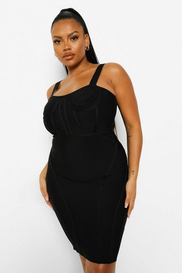 Black Plus Bandage Sculpt Corset Bodycon Dress
