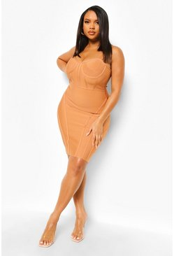 Tan brun Plus Bandage Sculpt Corset Bodycon Dress