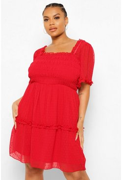 Grande taille - Robe babydoll froncée, Red rouge