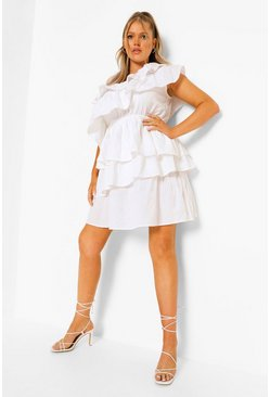 White Plus Ruffle Tiered One Shoulder Sundress