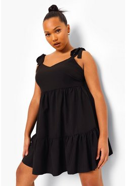 Black Plus Strappy Tie Detail Smock Dress