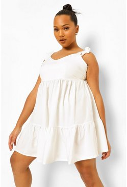 White Plus Strappy Tie Detail Smock Dress