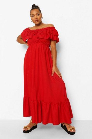 Red Plus Ruffle Bardot Maxi Dress