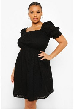 Black Plus Broderie Anglaise Skater Dress