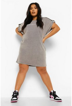Charcoal grey Plus Woman Acid Wash T Shirt Dress