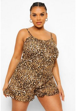 Brown Plus Leopard Ruffle Hem Playsuit