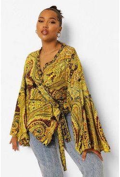 Black Plus Paisley Print Wrap Top