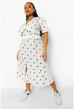 White Plus Spot Print Ruffle Midi Dress