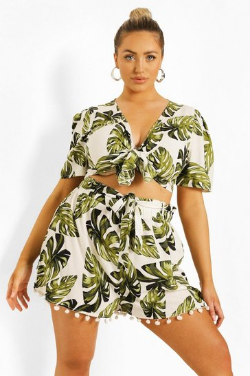 White Plus Palm Print Tassel Beach Co-ord