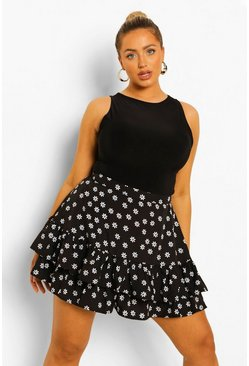 Black Plus Ditsy Floral Flippy Short