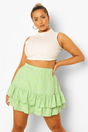 Green Plus Ditsy Floral Flippy Short