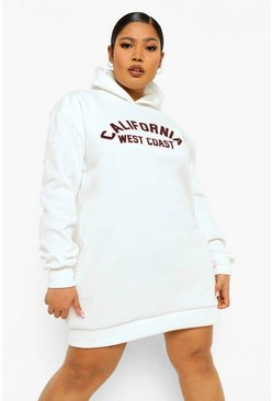 Ivory white Plus California Hooded Sweat Dress