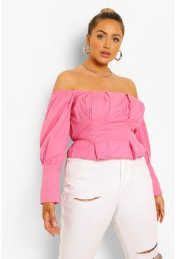 Candy pink pink Plus Off Shoulder Puff Sleeve Peplum Top