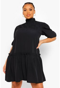 Plus High Neck Frill Smock Dress, Black schwarz