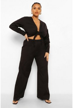 Black Plus Tie Front Crop Wide Leg Trouser Co-ord
