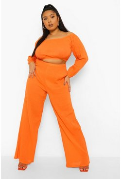 Red orange red Plus Cheesecloth Bardot Crop Wide Leg Co-ord