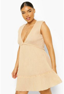 Tan brown Plus Ruffle Hem Beach Dress