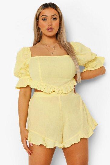 Lemon yellow Plus Frill Hem Short Co-ord