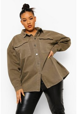 Washed khaki Plus Washed Pocket Oversized Shirt