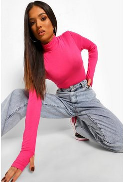Hot pink pink Petite High Neck Thumb Detail Top