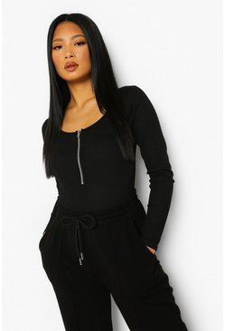 Black Petite Zip Front Long Sleeve Bodysuit