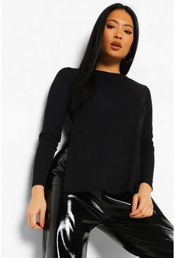 Black Petite Split Side Flare Sleeve Rib Top