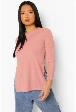 Rose pink Petite Split Side Flare Sleeve Rib Top
