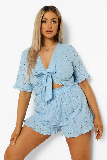 Blue Plus Broderie Tie Front Short Co-ord