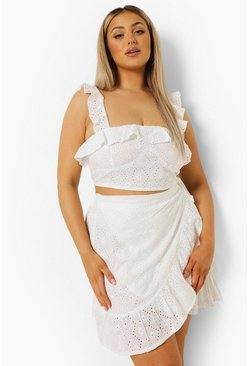 White Plus Broderie Wrap Frill Mini Skirt Co-ord