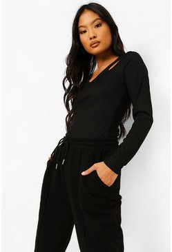 Black Petite Cut Out Detail Long Sleeve Rib Top