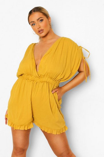 Mustard yellow Plus Cheesecloth Gathered Shoulder Playsuit
