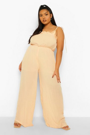 Tan brown Plus Cheesecloth Tie Back Jumpsuit