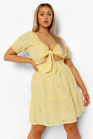 Lemon yellow Plus Broderie Tie Front Co-ord