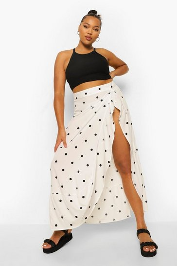 White Plus Polka Dot Wrap Midi Skirt