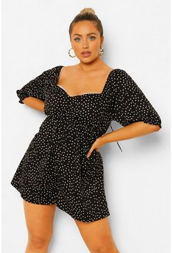 Black Plus Polka Dot Smock Playsuit
