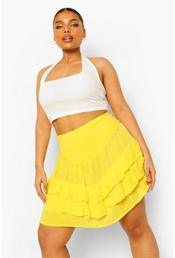 Lemon yellow Plus Ruffle Tiered Mini Skirt