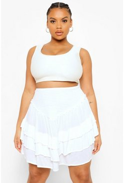 White Plus Ruffle Tiered Mini Skirt
