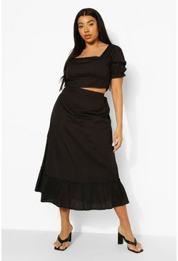 Black Plus Puff Sleeve Midi Skirt Co-ord