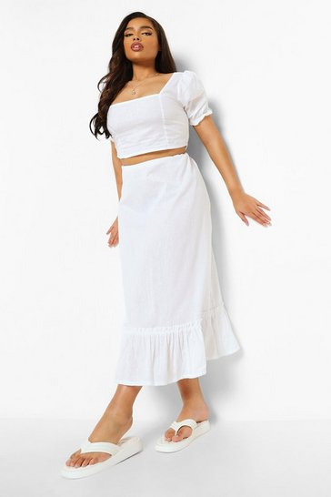 White Plus Puff Sleeve Midi Skirt Co-ord
