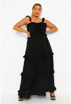 Black Plus Ruffle Tiered Maxi Dress