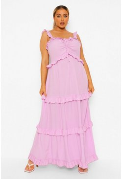 Lilac purple Plus Ruffle Tiered Maxi Dress