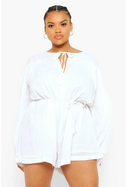 White Plus Cheesecloth Smock Romper
