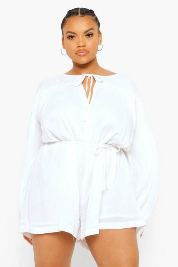 White Plus Cheesecloth Smock Playsuit