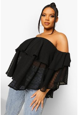 שחור Black Plus Off The Shoulder Dobby Mesh Top